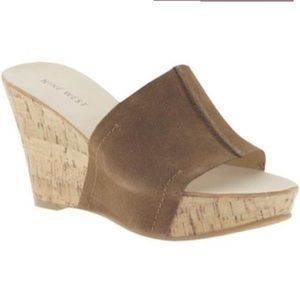 NINE WEST~Suede/Cork ERSILIA Slide Wedge Sandals~6